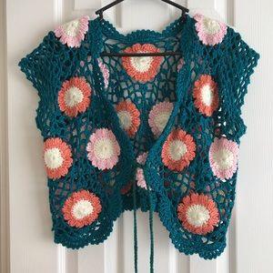 Vintage Handmade Crochet Top Large